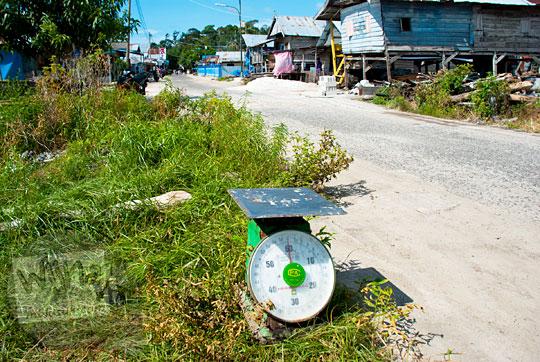 alat timbang untuk menimbang berat ikan tangkapan nelayan teronggok di pinggir jalan desa Tanjung Binga Belitung pada Maret 2016