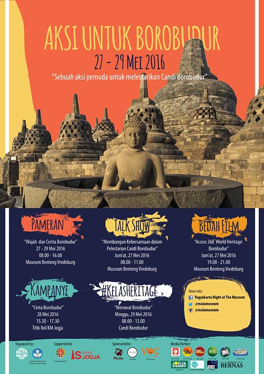 Poster Kegiatan Aksi Untuk Borobudur oleh Komunitas Night at the Museum Yogyakarta