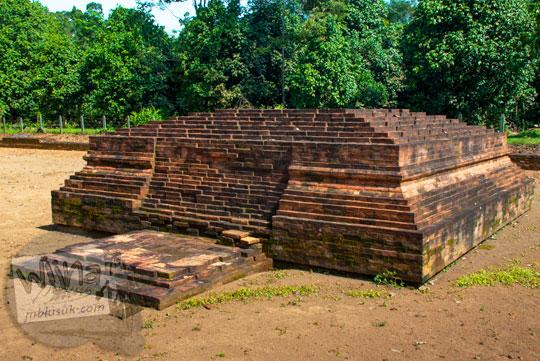 temuan arca buddha berukuran besar terbuat dari pahatan batu bata kondisi masih bagus dan mulus di sekitar Candi Gedong 2 di Kompleks Candi Muaro Jambi diduga merupakan buddha induk yang disembah oleh raja-raja Sriwijaya