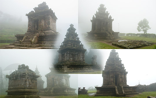 Foto sejarah zaman dulu tentang mitos cerita lima candi utuh di Kompleks Candi Gedong Songo di Ungaran, Semarang pada Januari 2009