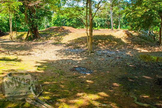 Bekas parit kanal berisi air yang di zaman Kerajaan Sriwijaya dahulu mengelilingi kompleks Candi Sialang Muaro Jambi pada April 2015