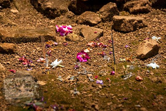 temuan sesaji untuk roh penunggu Candi Sialang Muaro Jambi berupa batang hio dupa cina dan kembang bunga mawar pada April 2015
