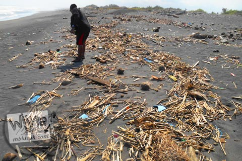 sampah-sampah laut di bibir Pantai Trisik, kecamatan Galur, Kulon Progo di tahun 2015