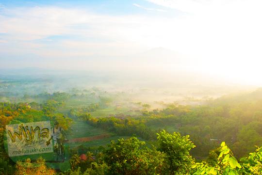 hamparan kabut dari ketinggian dilihat dari Bukit Kendil di Desa Giritengah, Borobudur, Magelang, Jawa Tengah