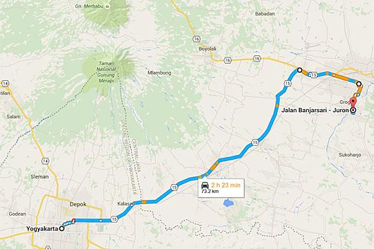Peta rute bersepeda dari Yogyakarta menuju Solo, Jawa Tengah tanpa perlu melewati jalan raya Jogja - Solo, yaitu lewat wilayah Kabupaten Sukoharjo.