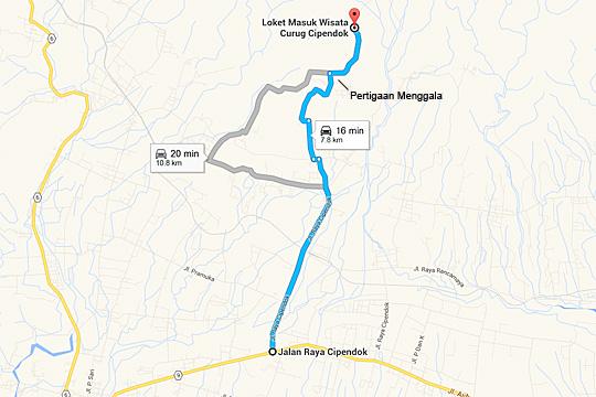 Peta rute lewat Jl. Raya Cipendok menuju Curug Cipendok, Banyumas pada tahun 2016