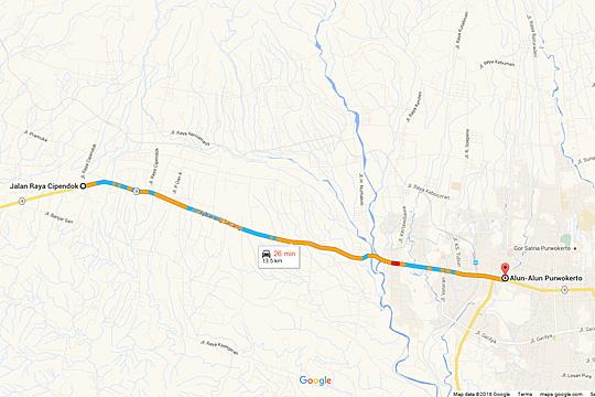 Peta rute ke Curug Cipendok, Banyumas dari Jakarta pada tahun 2016