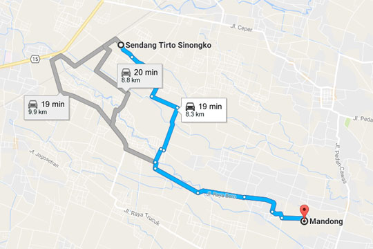 Peta rute perjalanan ke Sendang Tirto Sinongko, Ceper, Klaten pada kemarau panjang Oktober 2015