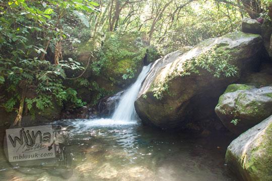 keberadaan curug air terjun kecil yang indah mempesona muda-mudi berenang mandi di dekat Air Terjun Dolo, Besuki, Kediri pada September 2016
