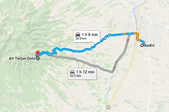 peta rute perjalanan tercepat singkat kendaraan angkutan umum mobil dari Kota Kediri ke Air Terjun Dolo di Desa Jugo, Mojo pada September 2016