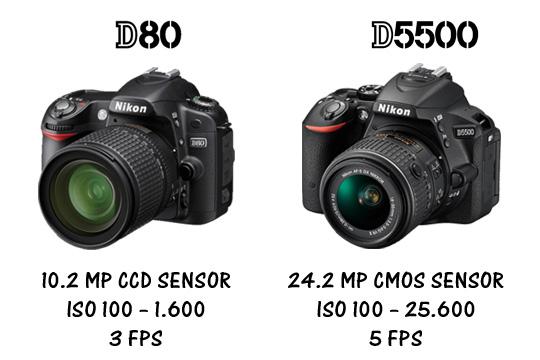 review ulasan perbandingan harga, kualitas, dan fitur dslr tua dan baru Nikon D80 dan D5500