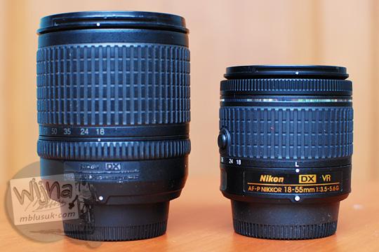 perbandingan ukuran size comparison AF-P DX Nikkor 18-55mm f/3.5-5.6G VR with 18-135 DX lens