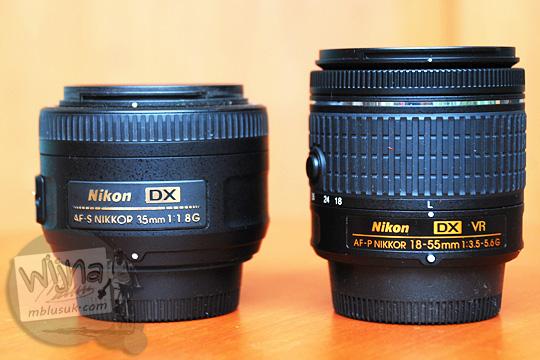 size comparison perbandingan ukuran lens AF-P DX Nikkor 18-55mm f/3.5-5.6G VR with 35 DX lens Nikon price