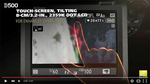 Review DSLR Nikon D500 Touch-Screen, Tilting 3.2 inch, 2.359K dot LCD
