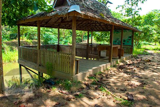 penampakan wujud kondisi bangunan bangunan pendopo dermaga perahu wisata susur kanal tua danau kelari di muaro jambi pada tahun 2015