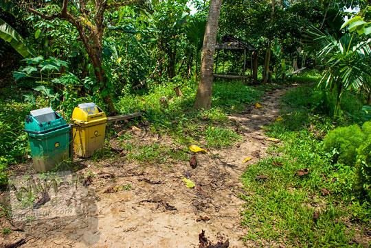 jalan tanah setapak becek berlumpur di hutan kompleks candi muaro jambi menuju kanal tua danau kelari pada tahun 2015