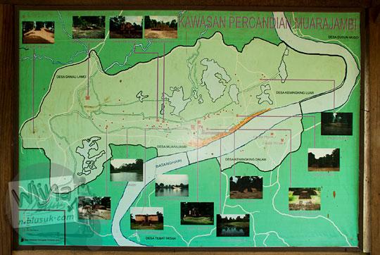 peta jelajah lokasi situs purbakala candi-candi bersejarah di kompleks percandian muaro jambi pada tahun 2015
