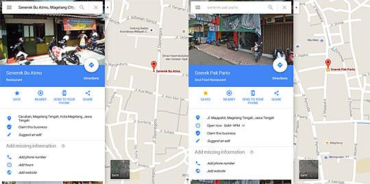 Peta lokasi warung sop senerek yang populer dan terkenal di magelang harganya murah