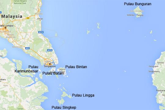 Peta Letak pulau Lingga di Provinsi Kepulauan Riau pada tahun 2016