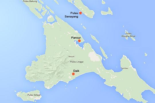 Peta kota Daik, Kota Pancur di Pulau Lingga serta Pulau Senayang di wilayah Provinsi Kepulauan Riau
