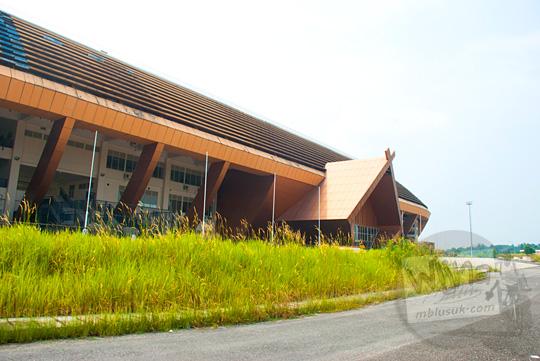 Rumput ilalang besar dan lebat tumbuh subur di sekitar kawasan Stadion Utama Riau Pekanbaru yang terbengkalai