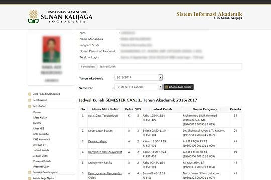 Screenshot tampilan SIA Sistem Informasi Akademik UIN Sunan Kalijaga, Yogyakarta menampilkan jadwal kuliah mahasiswa pada tahun 2016