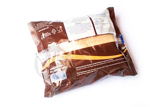 tampilan kemasan plastik belakang sari roti rasa cokelat diboikot ulama