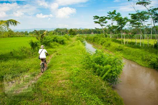 Bersepeda menyusuri Selokan Van Der Wijck lewat pematang sawah di tahun 2016