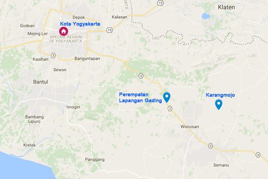 Rute bersepeda dari Kota Yogyakarta menuju ke Perempatan Lapangan Gading di Playen dan berakhir di Gua Pindul, Bejiharjo, Karangmojo, Gunungkidul pada April 2016