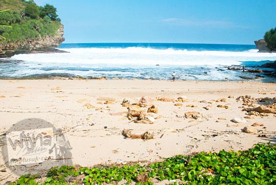 Pemandangan lanskap pantai kecil sepi yang diapit oleh tebing karang di Gunungkidul dekat dengan Pantai Timang