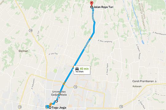 peta rute bersepeda dari tugu pal putih yogyakarta menuju warung ijo pindahan baru di dekat pasar pakem pada Februari 2016