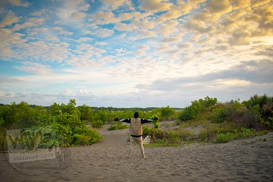 pemandangan suasana di salah satu sudut obyek wisata Gumuk Pasir Parangkusumo Bantul yang sepi tersembunyi jarang dijamah oleh wisatawan pada Agustus 2016
