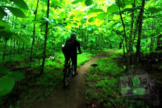 Foto Bersepeda menembus hutan ke Air Terjun Surupethek, Pleret, Bantul di tahun 2015