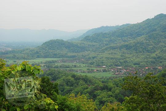 Pemandangan persawahan Bantul dilihat dari Puncak tanjakan Kaligatuk di Srimulyo, Piyungan pada Desember 2015