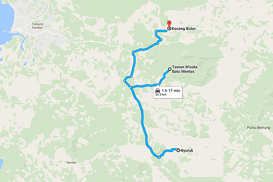 petunjuk panduan arah peta rute jalan singkat menuju obyek wisata belitung air terjun marsila sukma alam dan air terjun gurok beraye dengan tarif naik angkutan umum