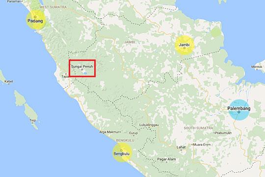 peta lokasi kota sungai penuh dari tarif agen travel jambi padang bengkulu dan palembang