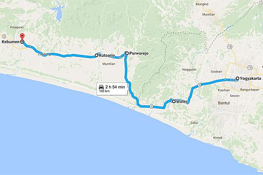 peta perjalanan naik sepeda motor dari yogyakarta menuju kebumen di malam hari jalur aman lewat jalan wates
