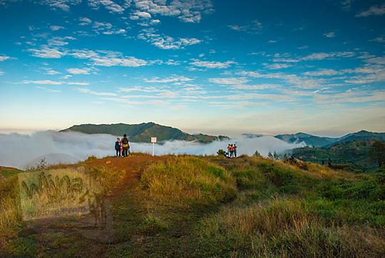 hamparan tanah lapang padang rumput dikelilingi kumpulan awan yang lokasinya berada di puncak Bukit Sikunir Dieng