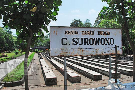 papan balai pelestarian peninggalan purbakala nama situs benda cagar budaya Candi Surowono, Kediri