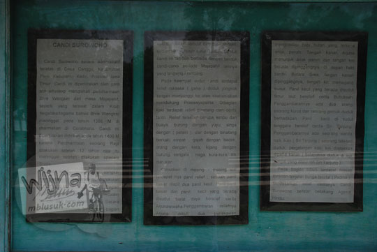 papan informasi sejarah keterangan seputar Candi Surowono, Kediri