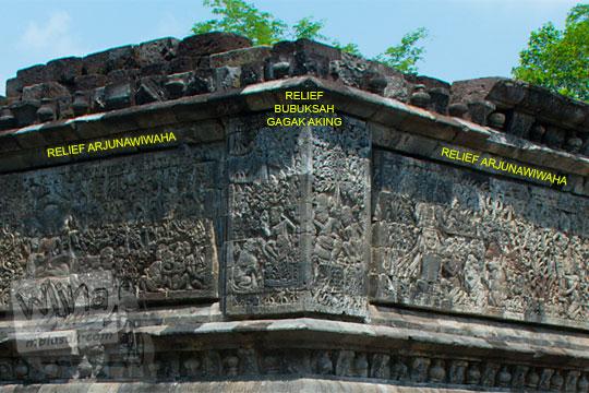 relief cerita kisah pesan moral bubuksah dan gagak aking di Candi Surowono, Kediri