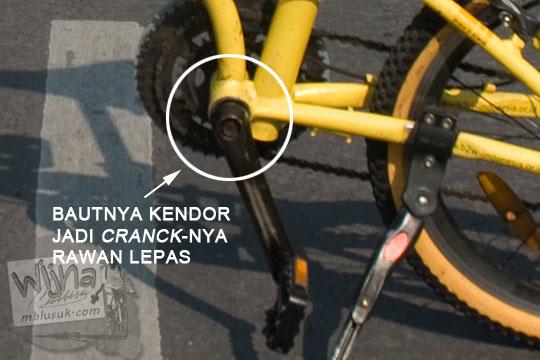 baut cranck sepeda lipat rawan kendor longgar terlepas