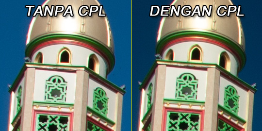 uji tes ketajaman foto menara masjid at-tauhid plumbon ngaglik sleman pakai filter cpl(w) athabasca