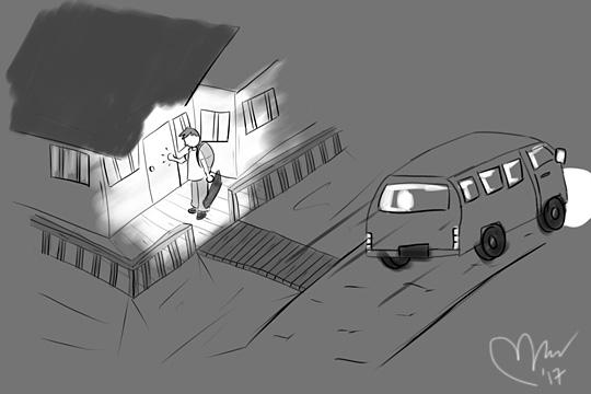 ilustrasi bertamu ke rumah kosong malam hari di pedalaman riau sumatera