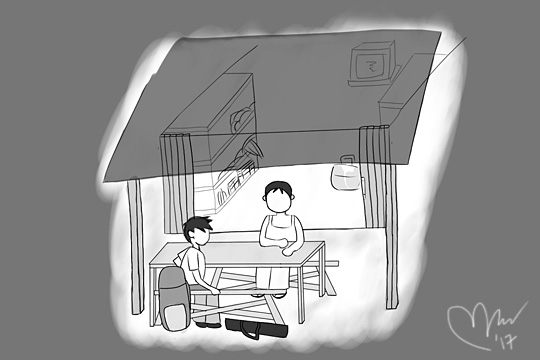 ilustrasi ngobrol malam hari di warung angker suatu desa di pedalaman riau sumatera