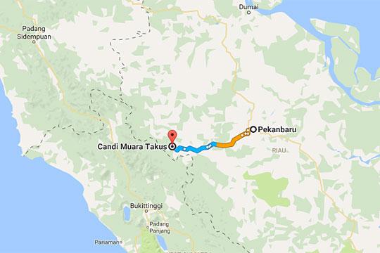 waktu tempuh dan rute perjalanan terpendek berdasarkan peta lokasi Candi Muara Takus dari Pekanbaru pada April 2016