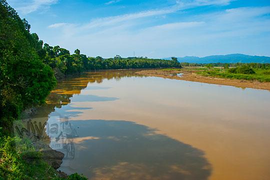 pemandangan indah bantaran Sungai Kampar yang memagari Kompleks Candi Muara Takus Riau di sisi barat