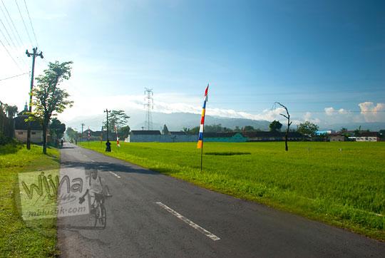 pemandangan hamparan sawah hijau lokasi arah keraton ratu boko pada pagi hari