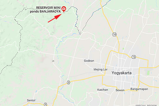 peta rute perjalanan dan lokasi dari kota jogja menuju embung banjaroya di kalibawang kulon progo