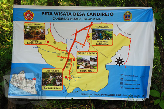 obyek wisata curug candi dan telaga di peta wisata desa candirejo di semin gunungkidul